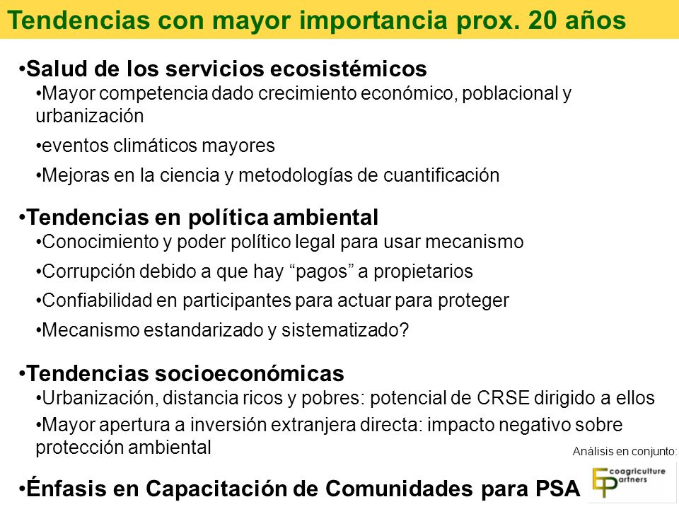 Tendencias con mayor importancia prox. 20 años