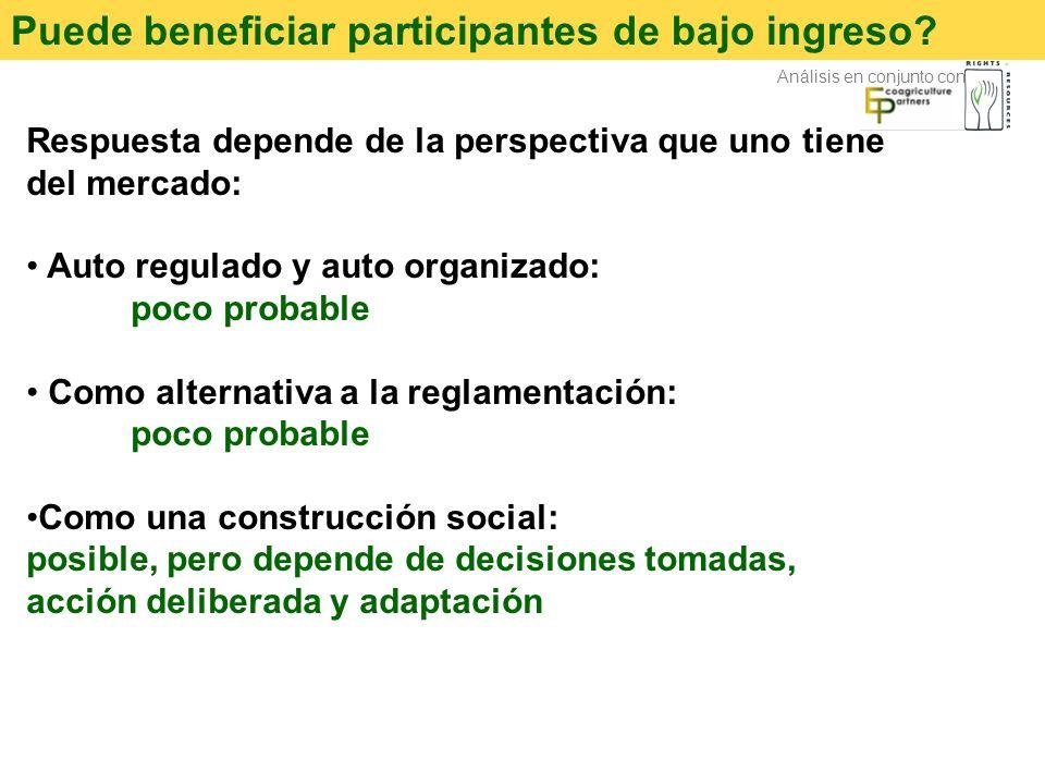 Puede beneficiar participantes de bajo ingreso