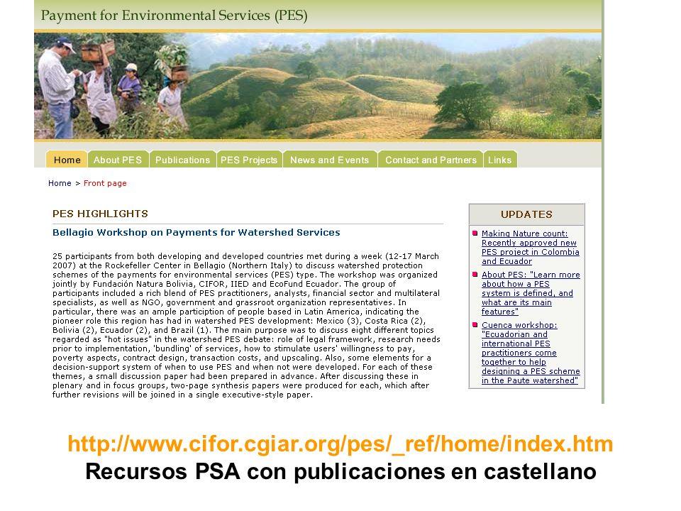 Recursos PSA con publicaciones en castellano