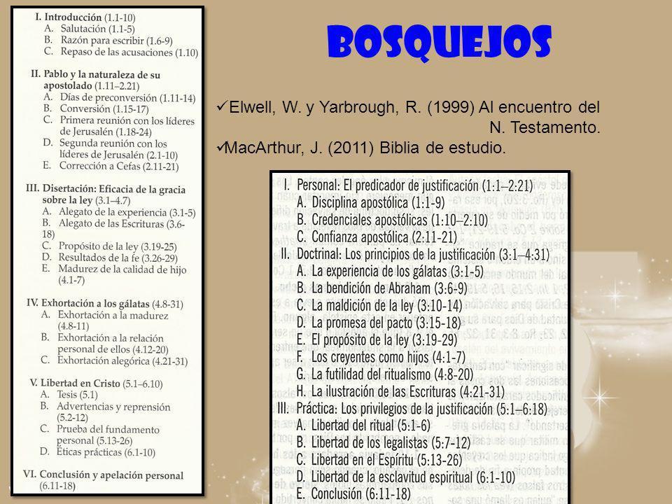 BOSQUEJOS Elwell, W. y Yarbrough, R. (1999) Al encuentro del
