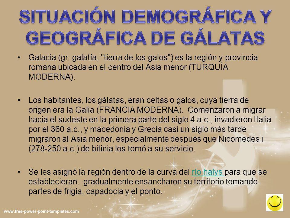 SITUACIÓN DEMOGRÁFICA Y GEOGRÁFICA DE GÁLATAS