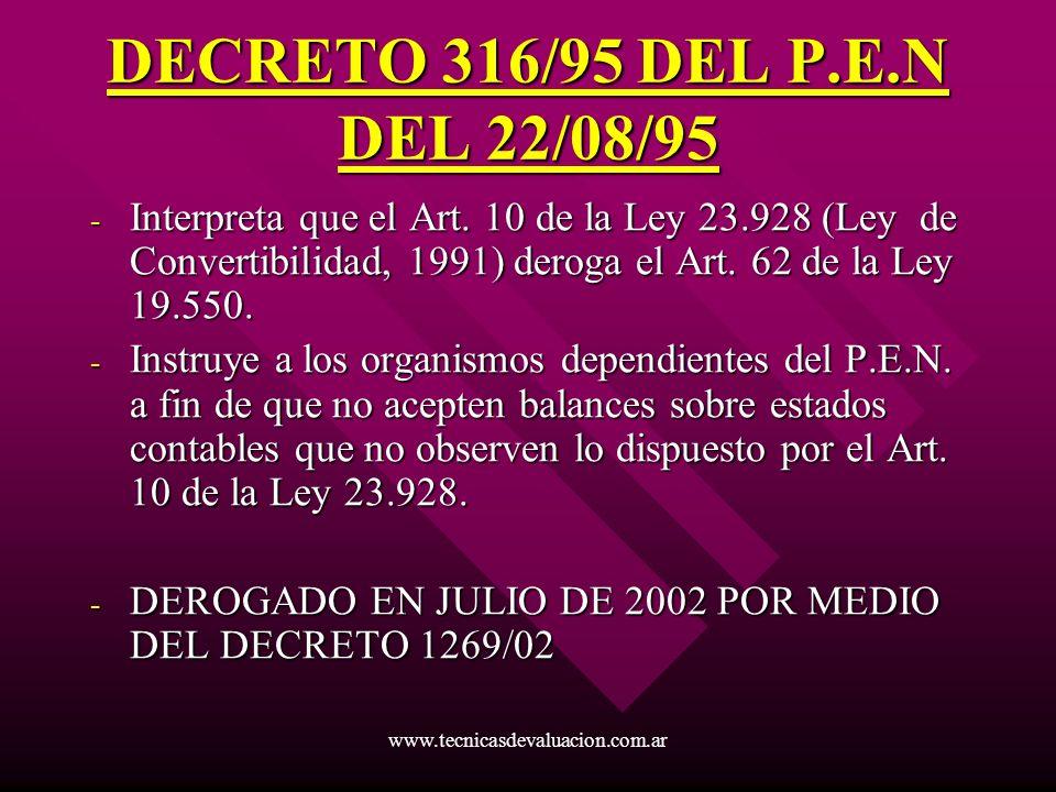 DECRETO 316/95 DEL P.E.N DEL 22/08/95 Interpreta que el Art. 10 de la Ley 23.928 (Ley de Convertibilidad, 1991) deroga el Art. 62 de la Ley 19.550.