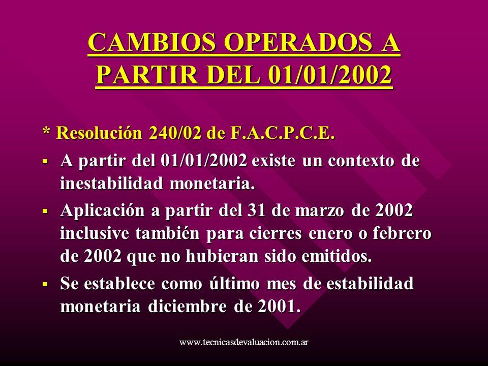 CAMBIOS OPERADOS A PARTIR DEL 01/01/2002