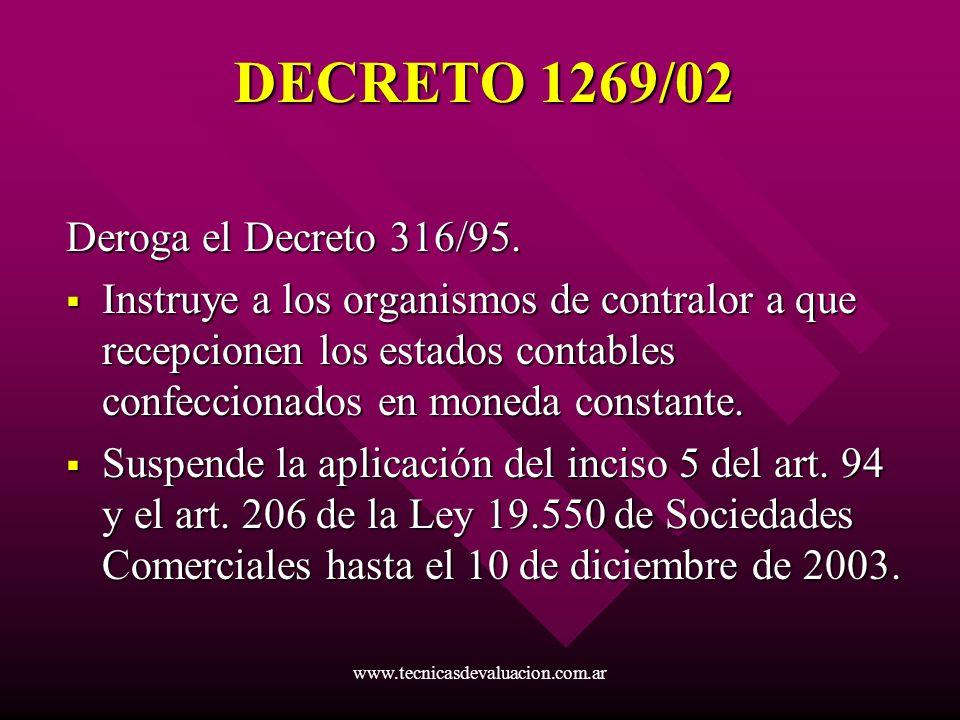 DECRETO 1269/02 Deroga el Decreto 316/95.