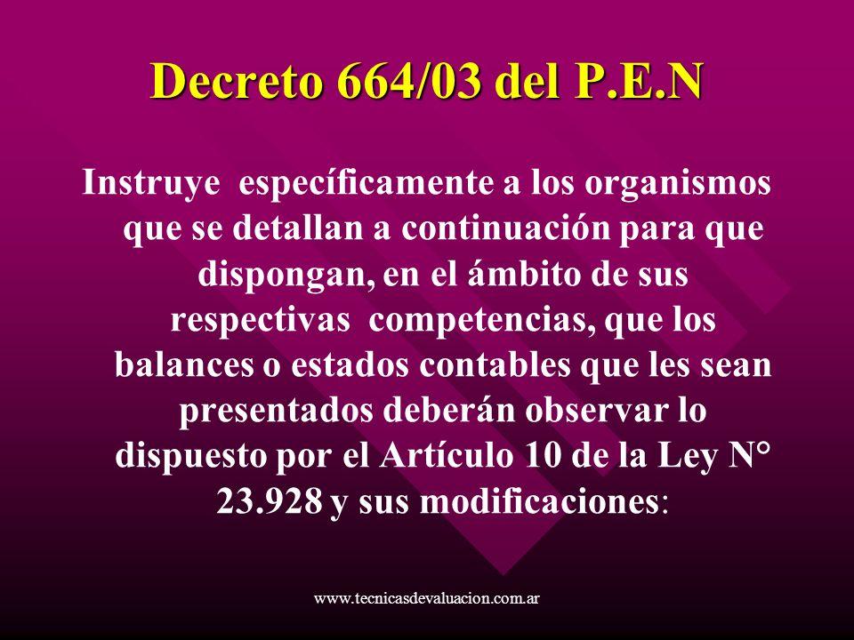 Decreto 664/03 del P.E.N
