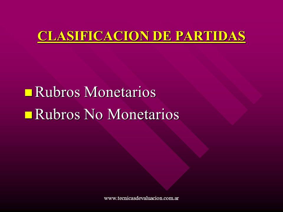 CLASIFICACION DE PARTIDAS
