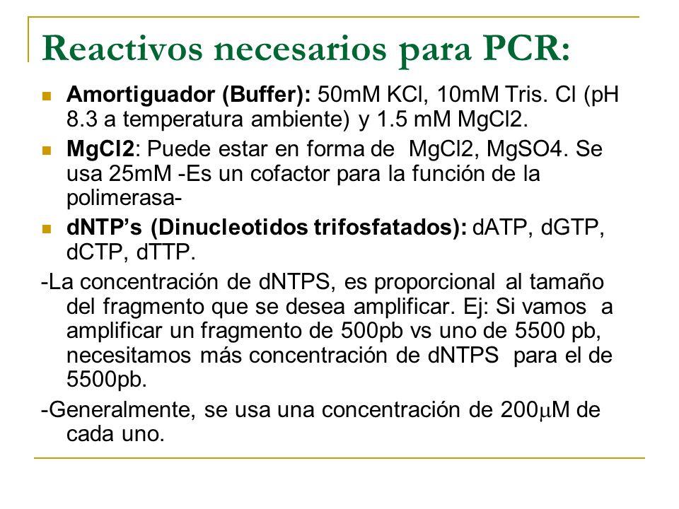 Reactivos necesarios para PCR: