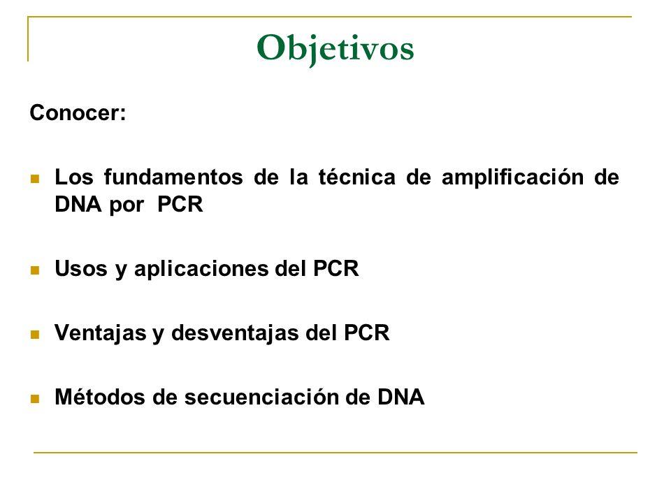 Objetivos Conocer: Los fundamentos de la técnica de amplificación de DNA por PCR. Usos y aplicaciones del PCR.