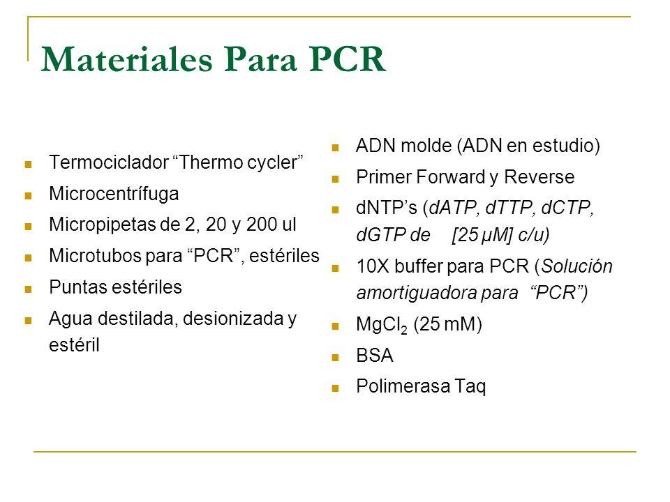 Materiales Para PCR ADN molde (ADN en estudio)