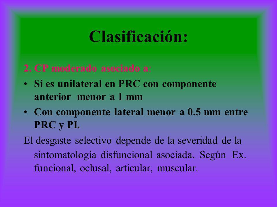 Clasificación: 2. CP moderado asociado a: