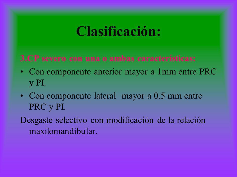 Clasificación: 3.CP severo con una o ambas características: