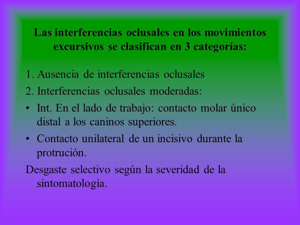 Las interferencias oclusales en los movimientos excursivos se clasifican en 3 categorías: