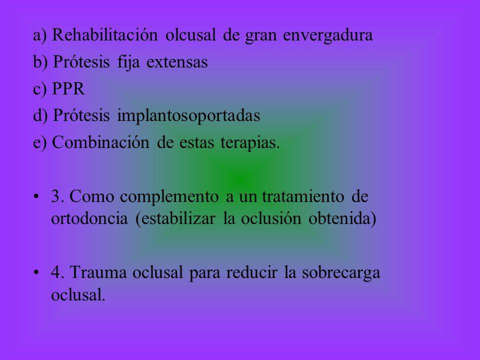 a) Rehabilitación olcusal de gran envergadura