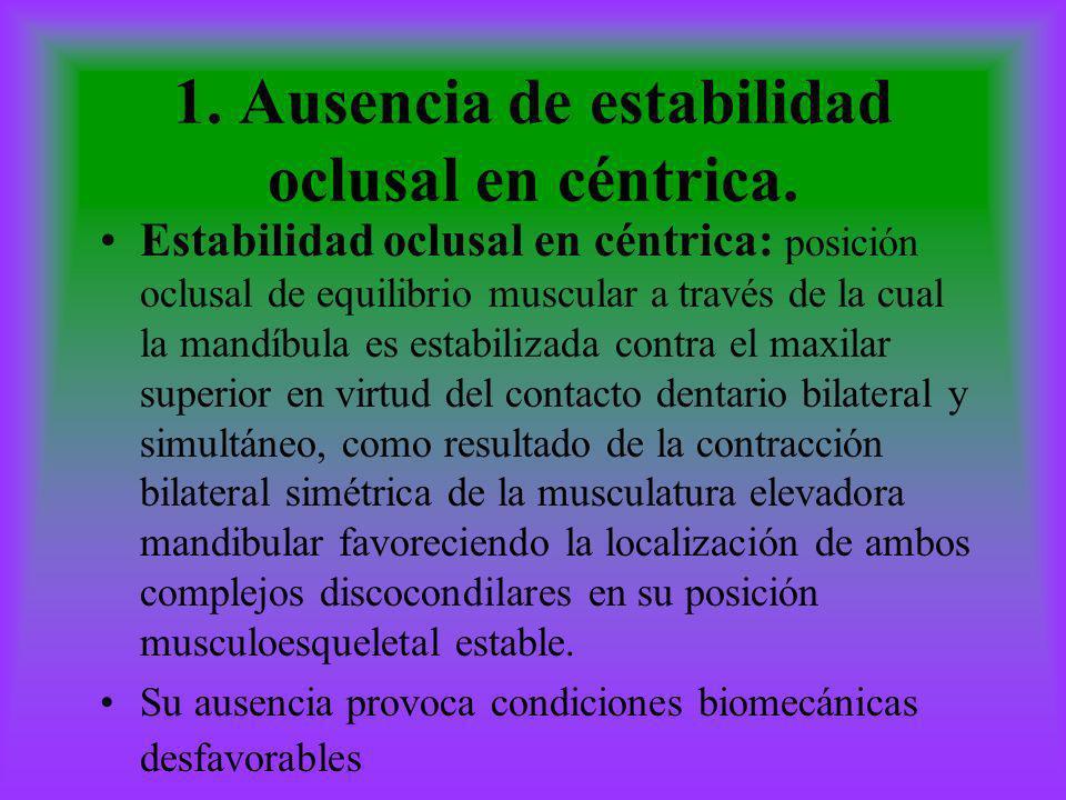 1. Ausencia de estabilidad oclusal en céntrica.
