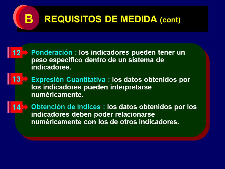 REQUISITOS DE MEDIDA (cont)
