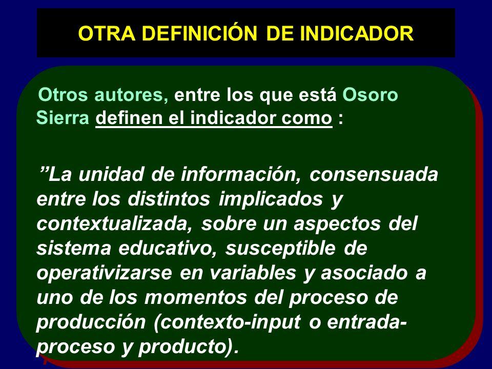 OTRA DEFINICIÓN DE INDICADOR