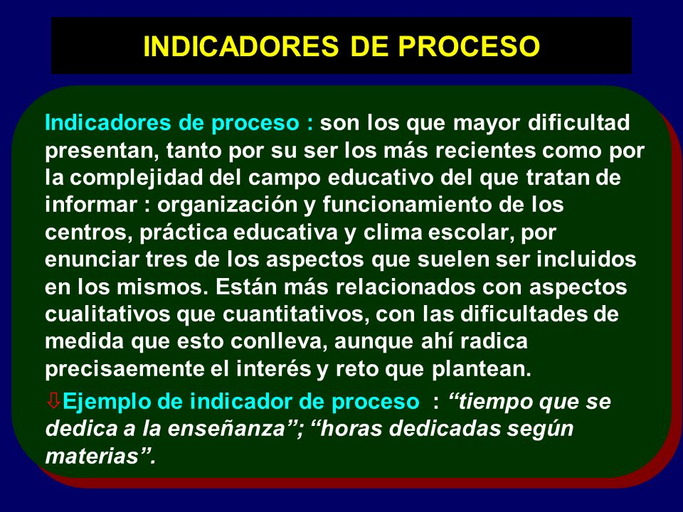 INDICADORES DE PROCESO