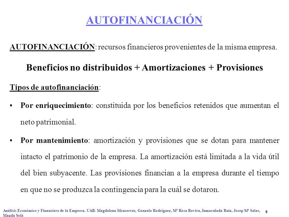 Beneficios no distribuidos + Amortizaciones + Provisiones