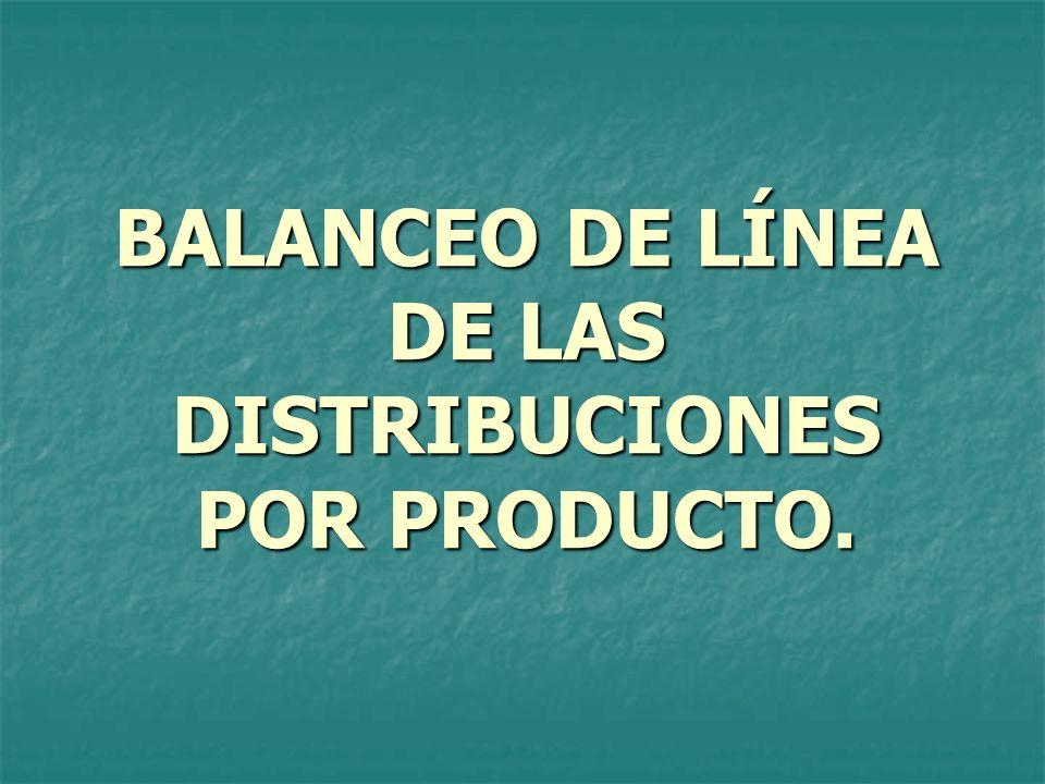 BALANCEO DE LÍNEA DE LAS DISTRIBUCIONES POR PRODUCTO.