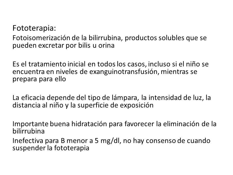 Fototerapia: Fotoisomerización de la bilirrubina, productos solubles que se pueden excretar por bilis u orina.
