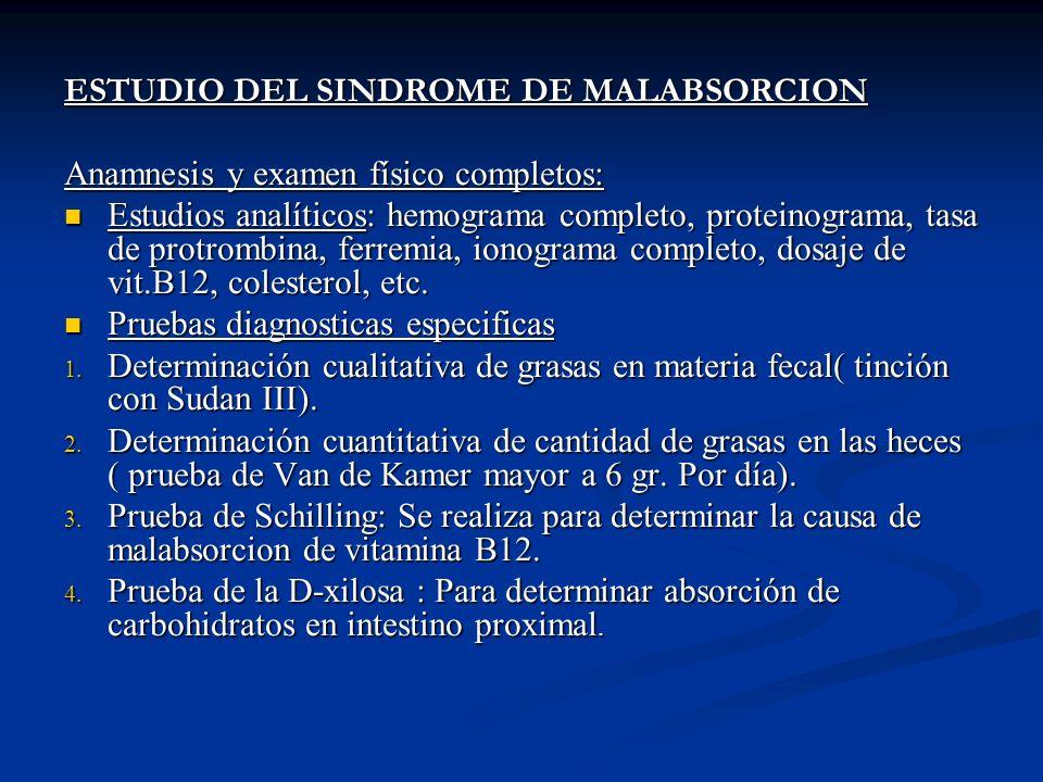 ESTUDIO DEL SINDROME DE MALABSORCION