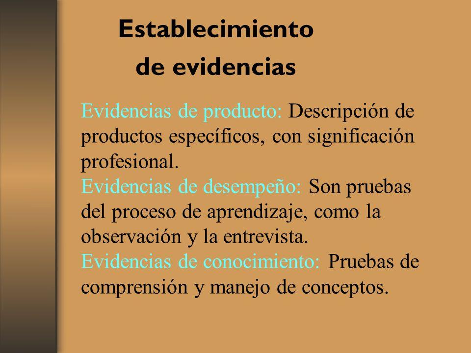 Establecimiento de evidencias