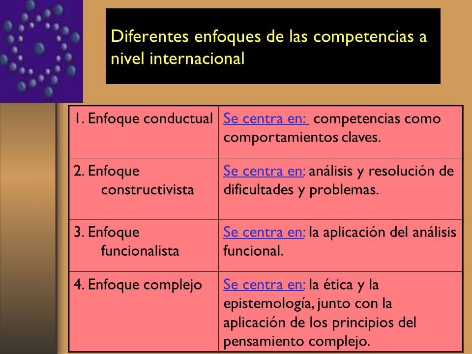 Diferentes enfoques de las competencias a nivel internacional