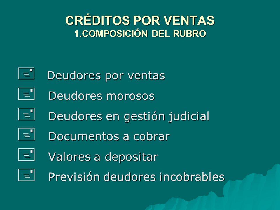 CRÉDITOS POR VENTAS 1.COMPOSICIÓN DEL RUBRO