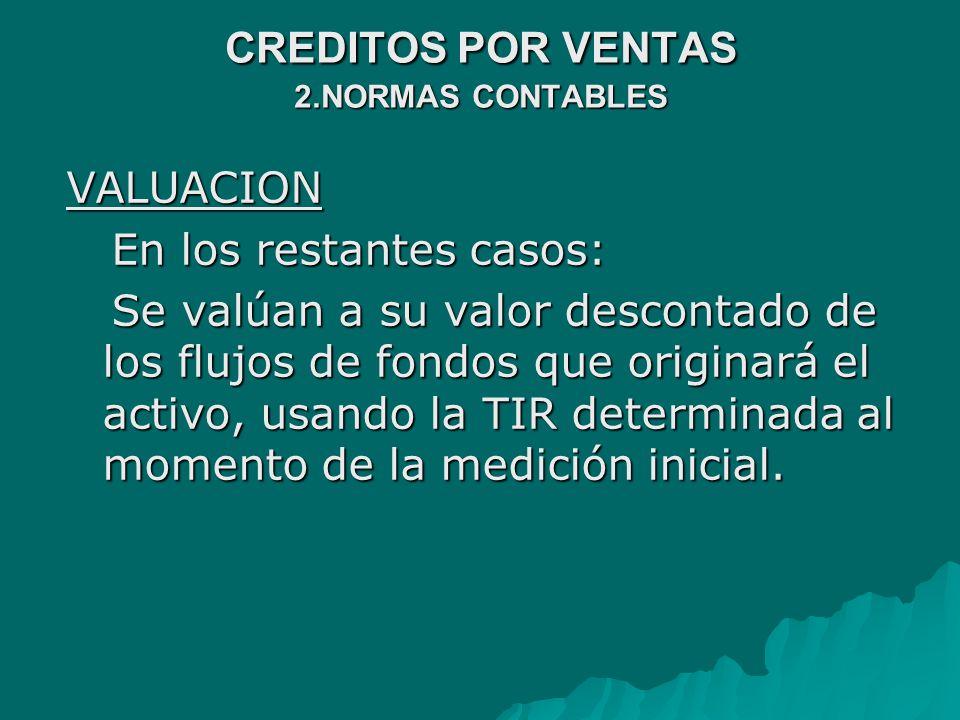 CREDITOS POR VENTAS 2.NORMAS CONTABLES