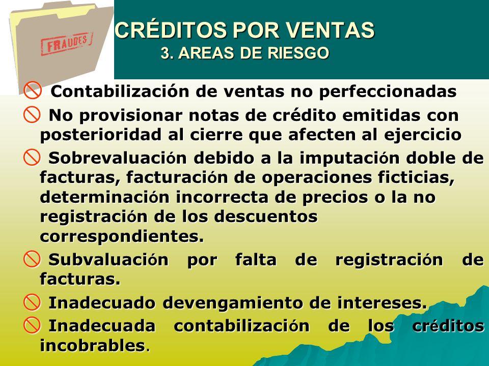 CRÉDITOS POR VENTAS 3. AREAS DE RIESGO