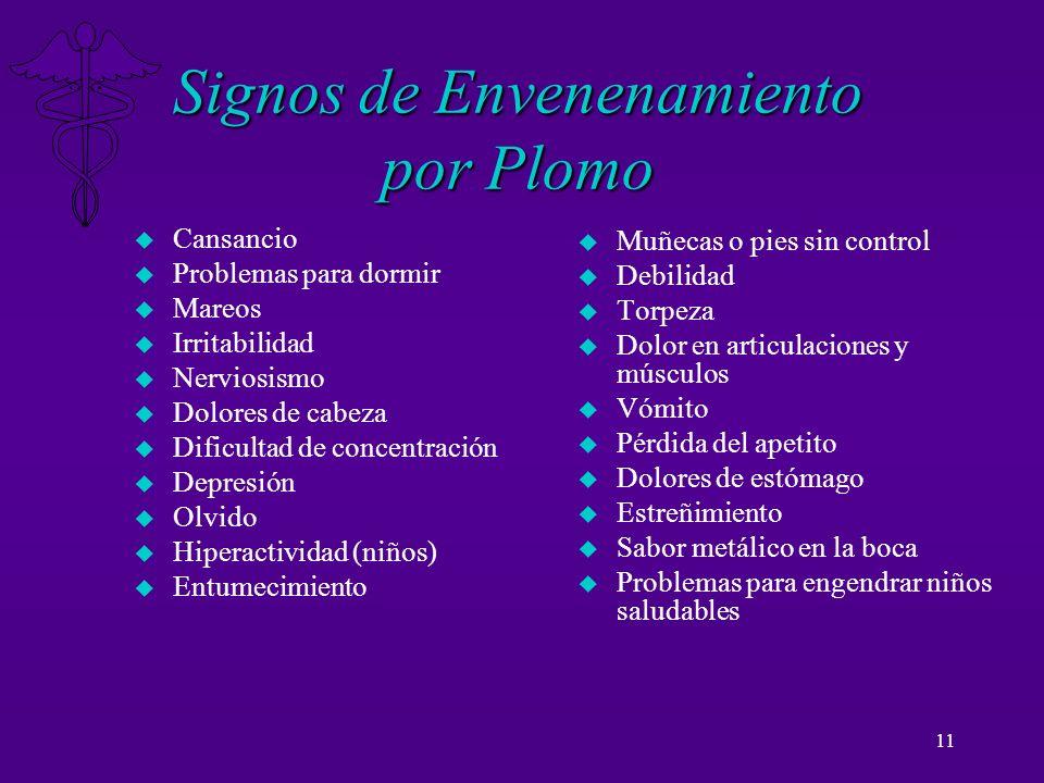 Signos de Envenenamiento por Plomo