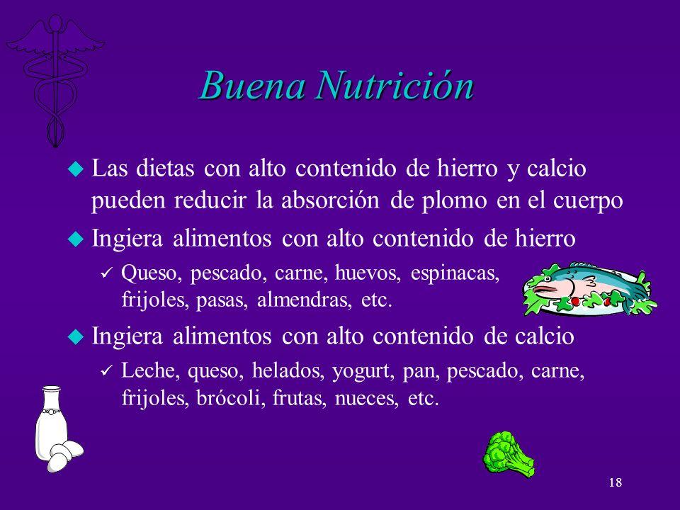 Buena Nutrición Las dietas con alto contenido de hierro y calcio pueden reducir la absorción de plomo en el cuerpo.