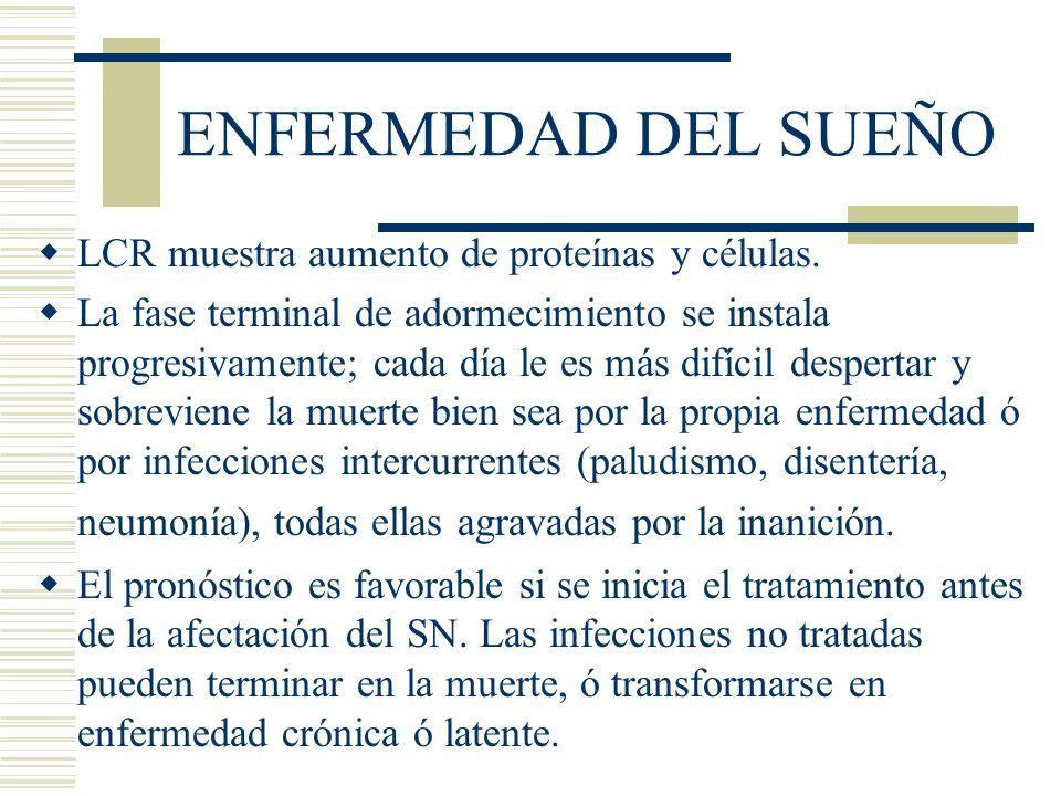 ENFERMEDAD DEL SUEÑO LCR muestra aumento de proteínas y células.