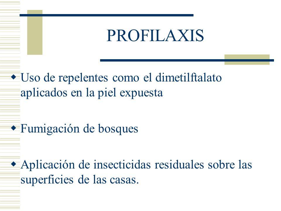 PROFILAXIS Uso de repelentes como el dimetilftalato aplicados en la piel expuesta. Fumigación de bosques.