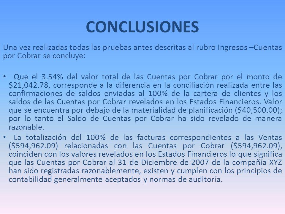 CONCLUSIONES Una vez realizadas todas las pruebas antes descritas al rubro Ingresos –Cuentas por Cobrar se concluye: