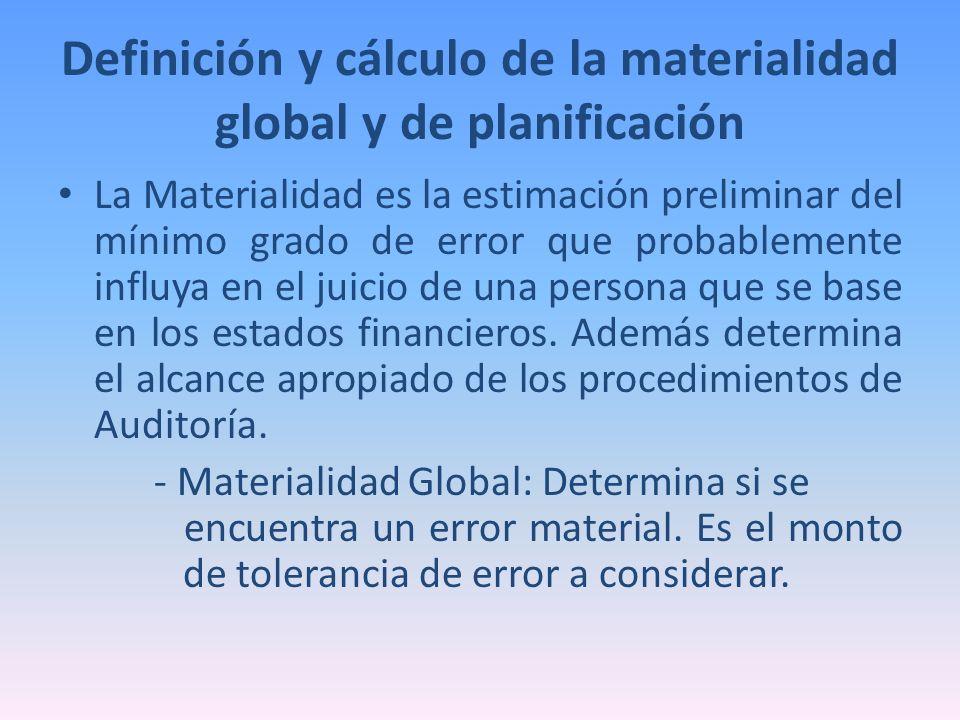 Definición y cálculo de la materialidad global y de planificación