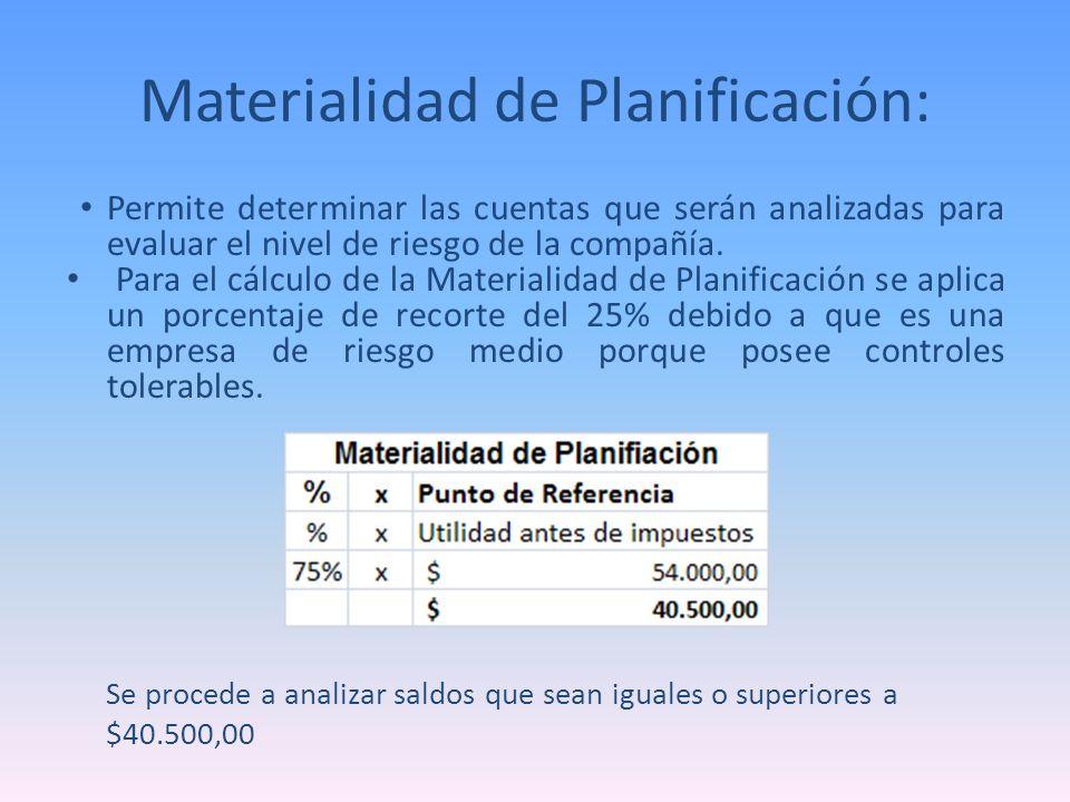 Materialidad de Planificación: