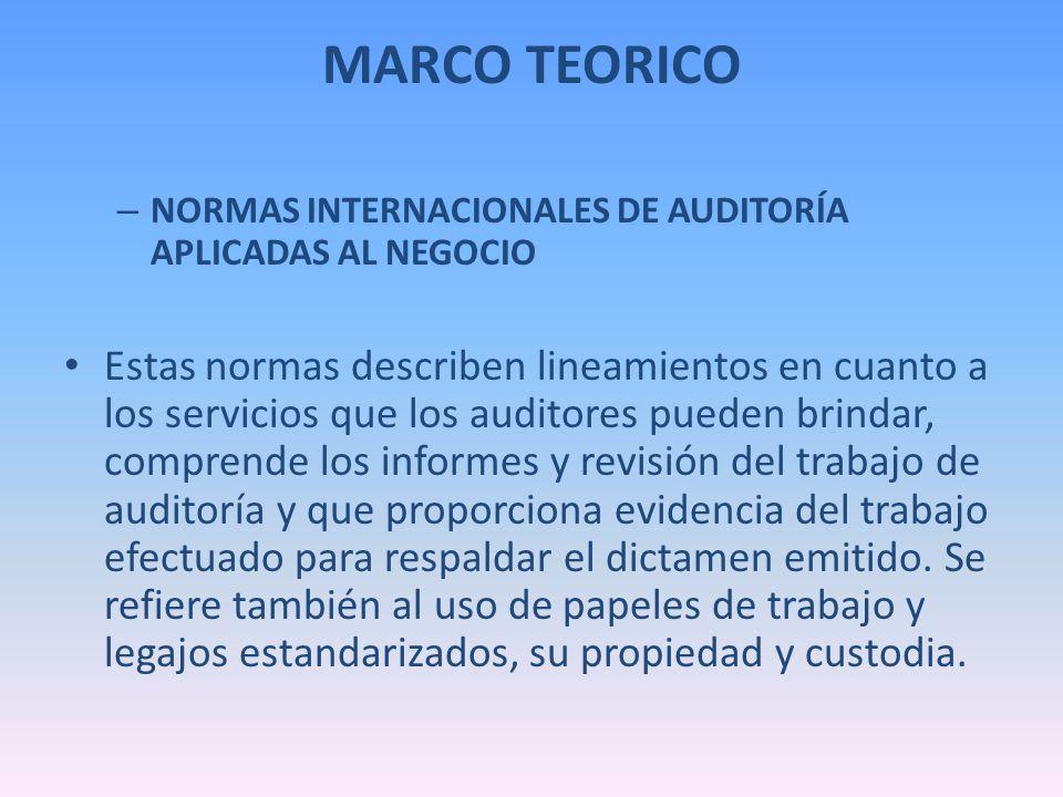 MARCO TEORICO NORMAS INTERNACIONALES DE AUDITORÍA APLICADAS AL NEGOCIO.