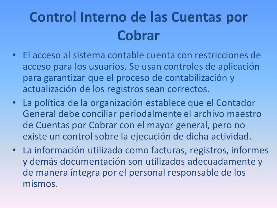 Control Interno de las Cuentas por Cobrar