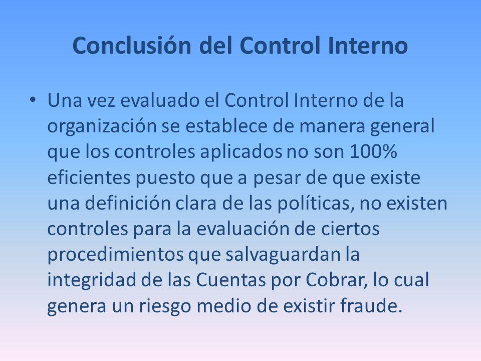 Conclusión del Control Interno