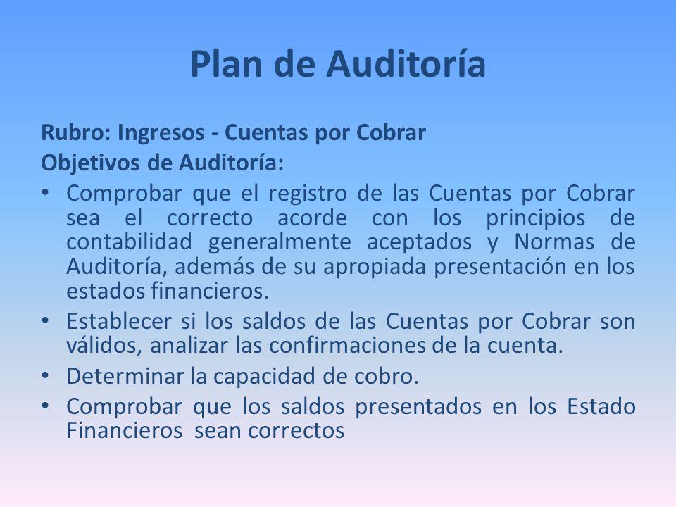 Plan de Auditoría Rubro: Ingresos - Cuentas por Cobrar