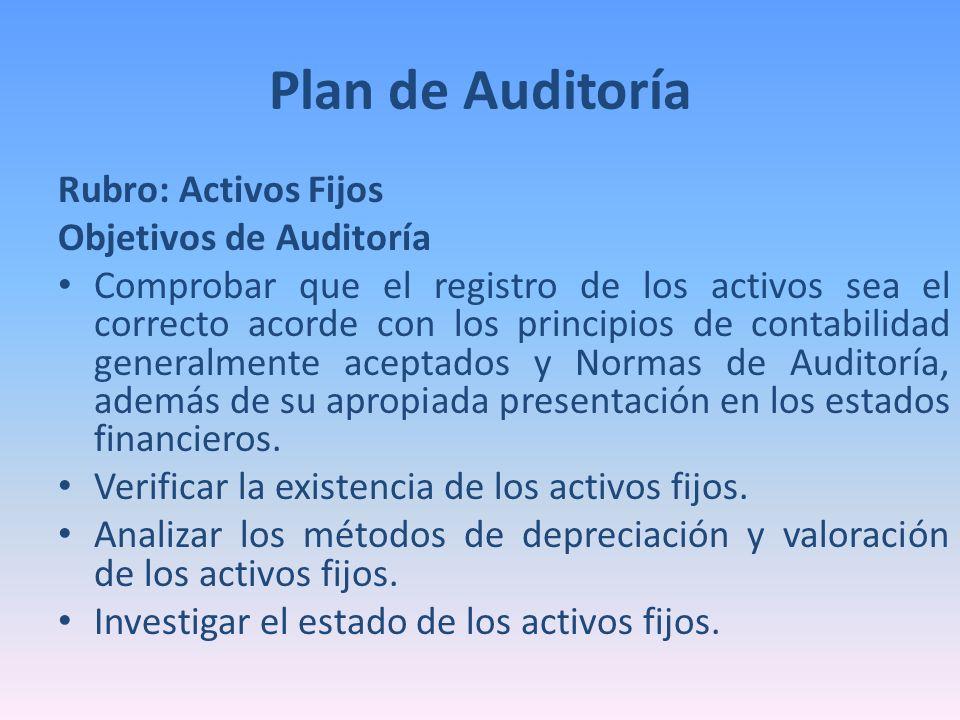 Plan de Auditoría Rubro: Activos Fijos Objetivos de Auditoría