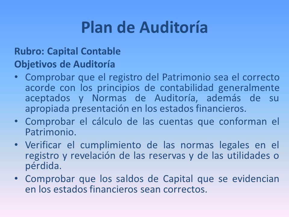 Plan de Auditoría Rubro: Capital Contable Objetivos de Auditoría
