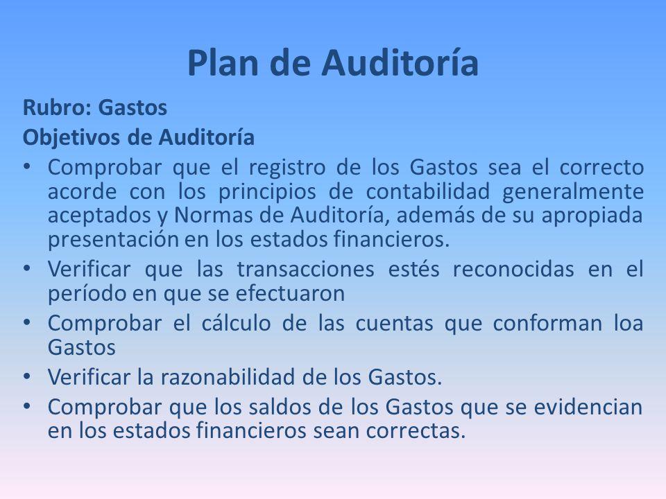 Plan de Auditoría Rubro: Gastos Objetivos de Auditoría