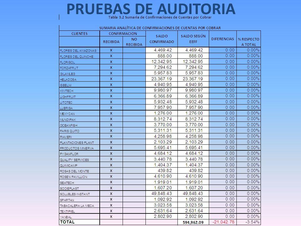 PRUEBAS DE AUDITORIA