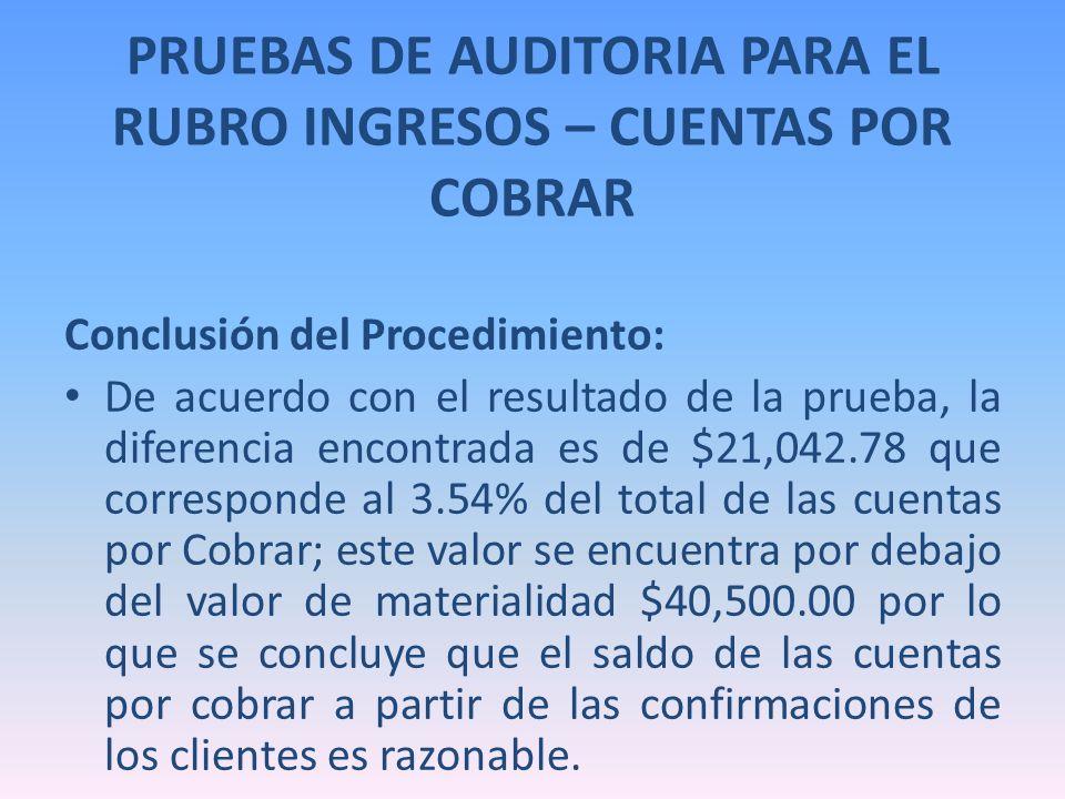 PRUEBAS DE AUDITORIA PARA EL RUBRO INGRESOS – CUENTAS POR COBRAR