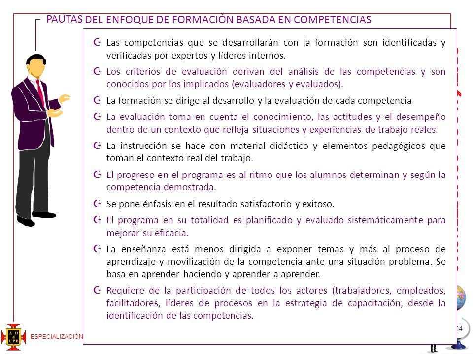 PAUTAS DEL ENFOQUE DE FORMACIÓN BASADA EN COMPETENCIAS PAUTAS