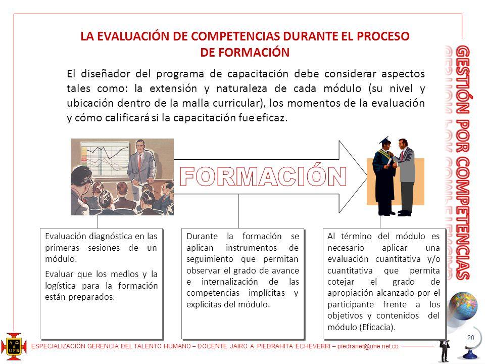 LA EVALUACIÓN DE COMPETENCIAS DURANTE EL PROCESO DE FORMACIÓN