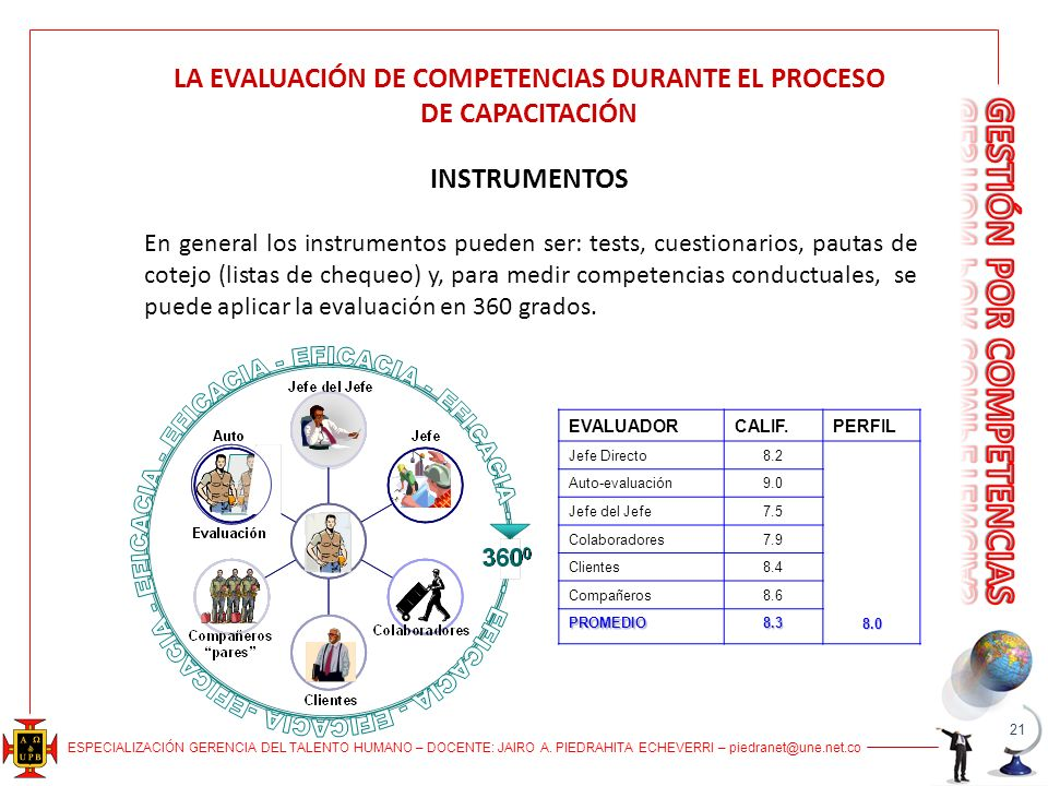 LA EVALUACIÓN DE COMPETENCIAS DURANTE EL PROCESO DE CAPACITACIÓN