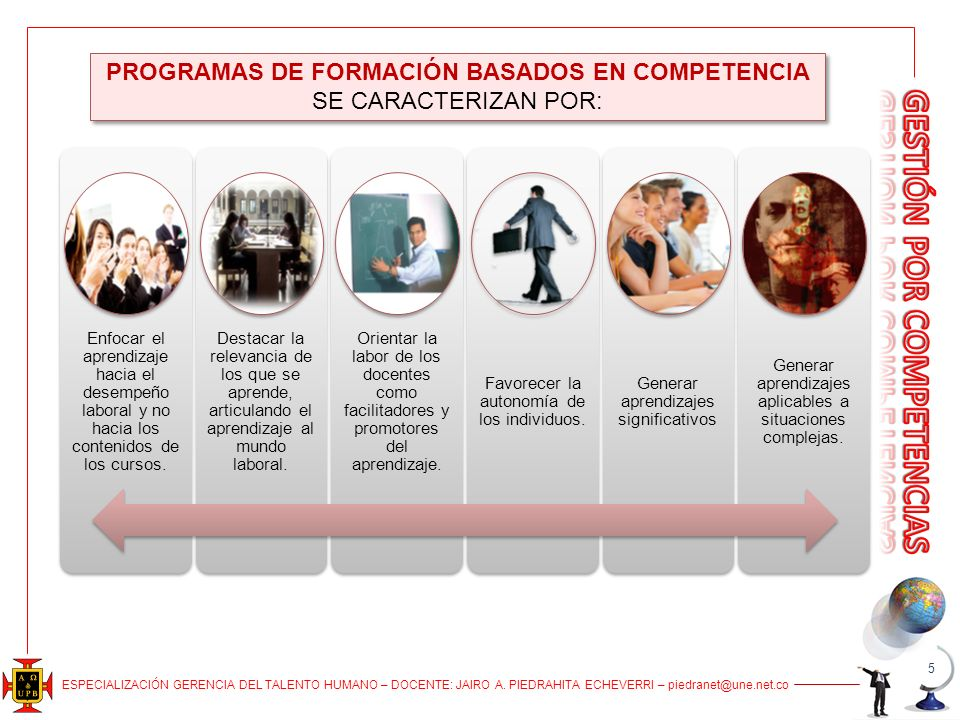 PROGRAMAS DE FORMACIÓN BASADOS EN COMPETENCIA SE CARACTERIZAN POR: